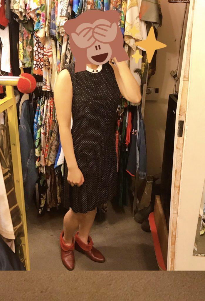 赤いブーツ+ワンピースコーデ